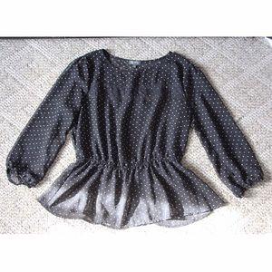 3 for $20 || Sheer Lily Rose polka-dot blouse